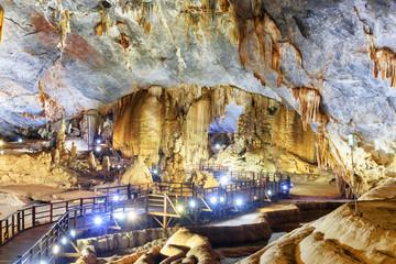 Winding walkway across amazing giant chamber of Paradise Cave