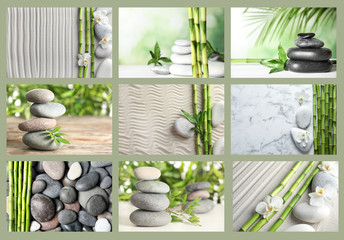 Collage of different beautiful pictures. Zen, balance, harmony