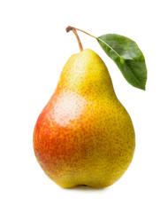 Wall Mural - ripe pear with leaf isolated on white background