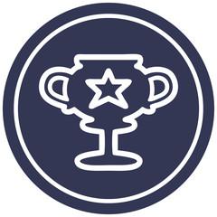 trophy cup circular icon