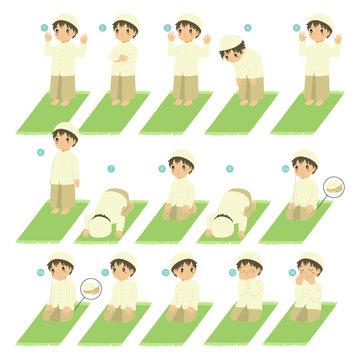 Muslim boy perform prayer or salat steps. Islamic prayer or salat guide for children vector collection