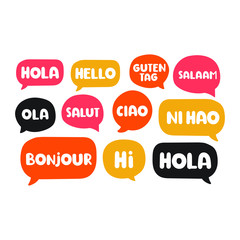 Different languages. Translation concept. Hand drawn vector icon illustrations on white background.