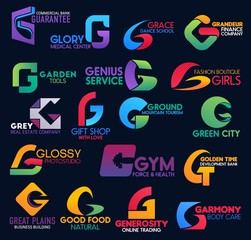 Trade commerce creative corporate identity G icons