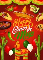 Cinco de Mayo Mexican fiesta food and pinata