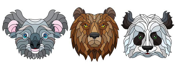 A set of stained glass items, stained glass with animal heads, a Panda bear, a brown bear and Koala bear, isolates on white background
