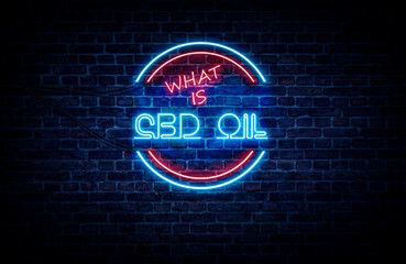 A neon sign in blue and red light on a brick wall background that reads: WHAT IS CBD OIL