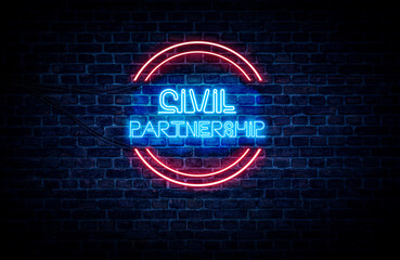 A neon sign in blue and red light on a brick wall background that reads: CIVIL PARTNERSHIP