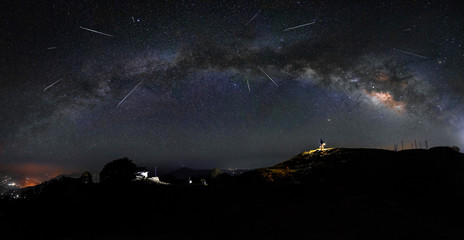 Meteor shower with a milky way clearly visible on the night sky of Indian himalayas