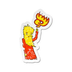 retro distressed sticker of a cartoon fire spirit