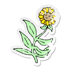 distressed sticker of a quirky hand drawn cartoon flower