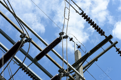 High-voltage electric pole with sky Used as a background