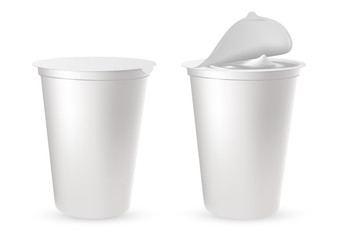 Realistic plastic packages for yogurt with foil lid, cap.