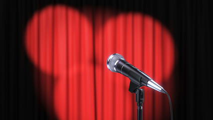 Red Curtain with Spotlights and Microphone, 3d Render