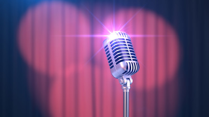 Beautiful Red Curtain with Spotlights and Vintage Microphone, 3d Render