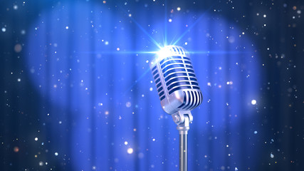 Stand Up Background with a Blue Curtain, Spotlights and Old Fashioned Microphone, 3D Render