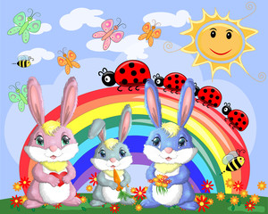 A family of three bunnies in the meadow near the rainbow. Mom, dad, baby. Spring, postcard