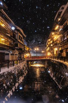 Ginzan onsen with snow fall in Winter, Yamagata, Japan