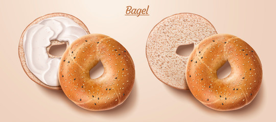 Delicious bagel with cream