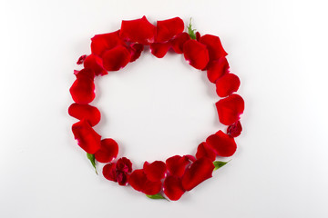Frame made of velvet red roses petals on white background. Flat lay, top view.