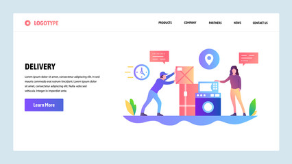 Vector web site design template. Delivery and shopping online. Courier deliver packages to door. Landing page concepts for website and mobile development. Modern flat illustration.