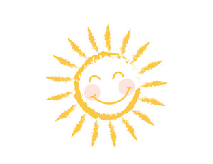 Figure cheerful with a smile of the sun, made with chalk (paints). Children's creativity. Vector icon.