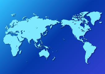 青色の背景グラデーションと水色の世界地図