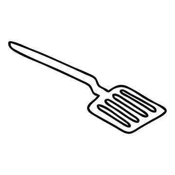 quirky line drawing cartoon spatula