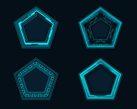 Pentagonal elements for the hud interface.