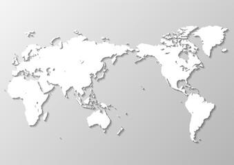 グレーの背景グラデーションと白い世界地図