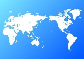 青色の背景グラデーションと白い世界地図