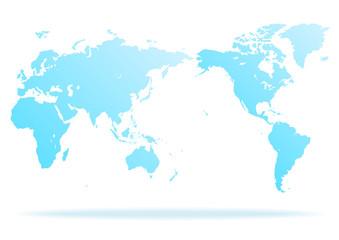 白色の背景と水色グラデーション世界地図と影
