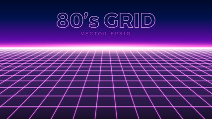 Perspective grid, retro 80s design element, neon colors