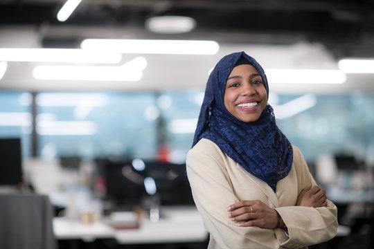 Portrait of black muslim female software developer