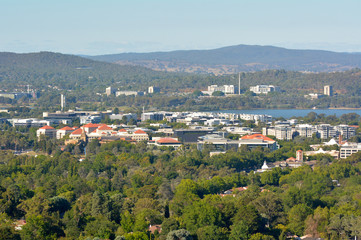 Aerial landscape view of Canberra Australia