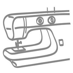 Handgezeichnete Nähmaschine in grau