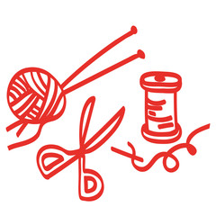 Handgezeichnetes Handarbeitszubehör in rot