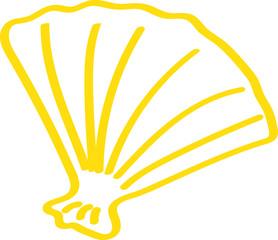 Handgezeichnete Muschel in gelb