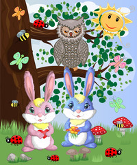 Two cute bunny in a forest glade. Boy and girl, concept spring, love