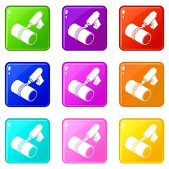 Welding torch cutting icons set 9 color collection isolated on white for any design