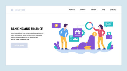 Vector web site design template. Finance and business strategy, bank investment, money. Landing page concepts for website and mobile development. Modern flat illustration.