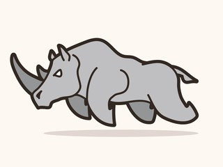 Angry Rhino attack graphic vector.