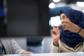 black muslim female software developer at work