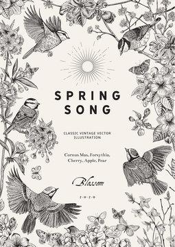 Spring song. Classis vintage illustration. Blossom garden. Black and white