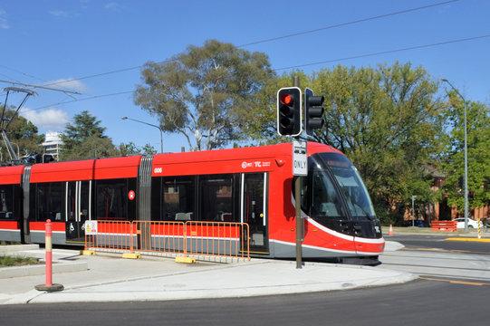 Light rail in Canberra.Australia Capital Territory