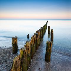 Alte Buhne am Strand der Ostsee am Morgen, Darß, Deutschland