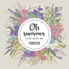 Wedding invitation. Summer frame. Rustic floral bouquet. Vector vintage illustration.