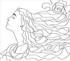 Girl with streaming hair, linen hand drawn illustration for coloring book.