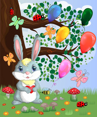 Bunny with a heart in a forest glade. Spring, postcard