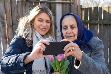 Women taking a selfie outdoor