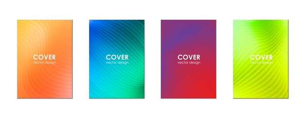 Set of modern abstract covers. Cover design with a dynamic colorful gradient of halftone. Vector background.